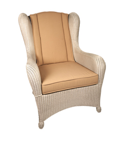Lloyd loom fauteuil Hull in de kleur parel wit