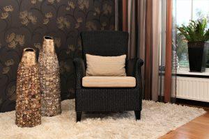 Lloyd loom fauteuil Porto zwart
